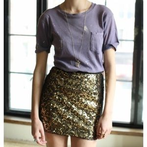 Sequin black mini skirt